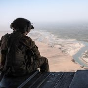 A U.S. Army helicopter on a flight to Camp Post on Sept. 11, 2017 at Camp Shorab in Helmand province, Afghanistan.