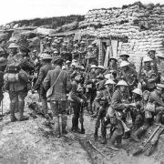 British soldiers from the Public Schools Battalions during the 1916 Battle of the Somme in France.