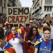 Protesters in the streets of the Spanish city of Barcelona on Oct. 18, 2019, demonstrate against the recent sentencing of separatist politicians.