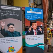 A beauty academy in Hanoi, Vietnam, offers free haircuts to anyone who wants to copy the hairstyle of U.S. President Donald Trump or North Korean leader Kim Jong Un, on Feb. 20, 2019.