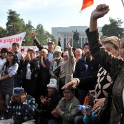 Supporters of the Kyrgyz Byutun party shout during their protest against the results of the Parliamentary elections in Bishkek on October 18, 2010.
