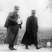 French Gen. Michel-Joseph Maunoury, right, walks alongside French army commander Gen. Joseph Joffre during the Battle of the Marne in 1914.