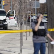 This photo shows the van that Alek Minassian, 25, reputedly drove down a street in Toronto, Canada, on April 23, 2018.