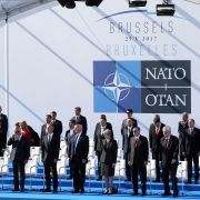 Leaders of the NATO countries gather on May 25, 2017, for the NATO summit in Brussels, Belgium.