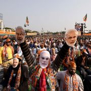 Supporters of Indian Prime Minister Narendra Modi and his Bharatiya Janata Party rally in New Delhi on Feb. 4, 2020, ahead of the territory's assembly elections on Feb. 8.