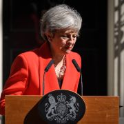 British Prime Minister Theresa May announces her resignation, effective June 7, 2019, outside 10 Downing Street in London on May 24, 2019.