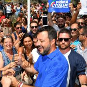 Matteo Salvini, Italy's Interior minister and deputy prime minister, greets supporters in Policoro, Italy, on Aug. 10, 2019.