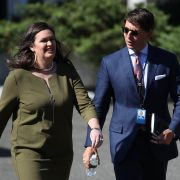 White House Press Secretary Sarah Sanders walks with Deputy Press Secretary Hogan Gidley following a press conference on May 31, 2019.