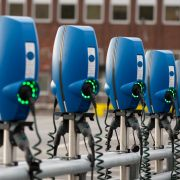 This image shows charging stations for electric cars in Gothenburg, Sweden, on Oct. 19, 2019.
