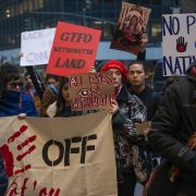 A demonstration in solidarity with the Wet'suwet'en pipeline protest on Feb. 18, 2020, outside the Canadian Consulate in New York. Disruptions to supply chains will remain the most obvious impact, but whether this spreads to new targets and geographically, including to the United States, will be important to monitor.