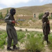Taliban fighters patrol near Gardez, near Afghanistan's border with Pakistan.