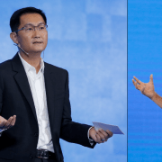 "Tencent founder and CEO Huateng ""Pony"" Ma (left) and Alibaba co-founder and executive chairman Jack Ma have more than just a name in common: The two entrepreneurs are archrivals in China's increasingly competitive tech sector, and both have steadily expanded their companies' products and services to maintain an edge."