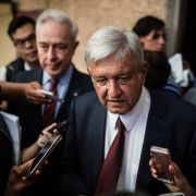 Mexican President-elect Andres Manuel Lopez Obrador speaks to reporters in Mexico City on July 5, 2018, to announce that his pick for foreign minister is former Mexico City Mayor Marcelo Ebrard.