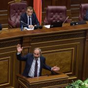 In this photo, Armenian opposition leader Nikol Pashinian speaks before parliament on May 1, 2018, during an extraordinary session to vote on a new prime minister.