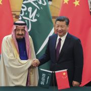 The photo shows Saudi King Salman shaking hands with Chinese President Xi Jinping during a signing ceremony in Beijing on March 16, 2017.