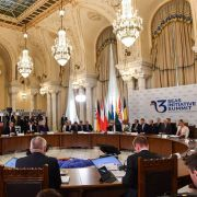 European Commission President Jean-Claude Juncker (center) and representatives of the Three Seas Initiative take part in a summit on Sept. 18 in Romania.