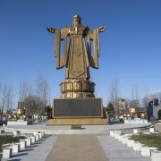 A statue of Confucius stands in the Chinese resort town of Beidaihe in this photo taken Dec. 12, 2014.