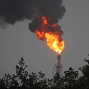 An image of a gas flare at the Mozyr Oil Refinery in Belarus on Jan. 4, 2020. Russia recently resumed its oil deliveries to Belarusafter a pricing dispute prompted Moscow to halt its supplies at the beginning of the year.