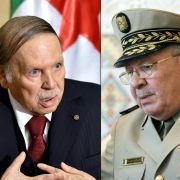 A combination image created on March 26 shows Algerian President Abdel Aziz Bouteflika (L) during an official visit to Zeralda, a suburb of the capital Algiers on April 10, 2016, and Algerian Chief of Staff Gen. Ahmed Gaid Salah at the Houari-Boumediene International Airport in Algiers, on May 20, 2014.