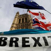 A pro-Brexit banner is seen outside the Houses of Parliament in London on Oct. 30. 2019.