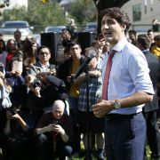 Canadian Prime Minister Justin Trudeau addresses the media in Winnipeg, Manitoba, on Sept. 19, 2019, regarding photos and video that have surfaced in which he is wearing dark makeup.