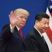 U.S. President Donald Trump and Chinese President Xi Jinping leave a business leaders event in Beijing on Nov. 9, 2017.