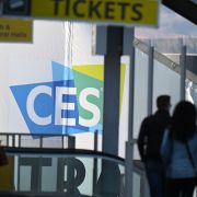 Attendees arrive on Jan. 6 at the Las Vegas Convention Center, where preparation is underway for the CES 2019 technology show.