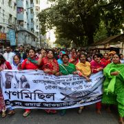 Supporters of Bangladesh's Awami League march during a general election campaign procession in the capital of Dhaka on Dec. 10, 2018.