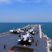 This photo taken on April 24, 2018, shows J-15 fighter jets on China's sole operational aircraft carrier, the Liaoning, during a drill at sea.