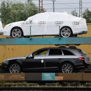 Cars from German manufacturer Audi await transport in the German port city of Bremerhaven in July 2017.