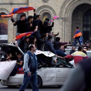 Armenians in Yerevan demonstrate against the former president's appointment as prime minister.