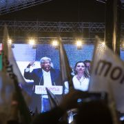 Mexico's new president, Andres Manuel Lopez Obrador, speaks July 1 during a celebration at Zocalo square in Mexico City.