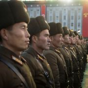 North Korean soldiers attend a Dec. 1 rally in Pyongyang celebrating Kim Jong Un's declaration on Nov. 29 that the country had become a nuclear state.