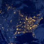 The nighttime lights of the United States are seen from space.