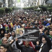 Algerian protesters demonstrate in the capital Algiers against ailing President Abdel Aziz Bouteflika's bid for a fifth term on March 8, 2019.