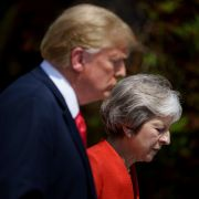 U.S President Donald Trump (L) and British Prime Minister Theresa May prepare to attend a joint press conference in July 2018.