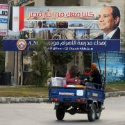 A billboard in Cairo touts the re-election of President Abdel Fattah al-Sisi. As elections approach in March, his opponents from across the political spectrum have found themselves under pressure from the country's military council.