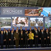 European leaders pose during the launch of the Permanent Structured Cooperation (PESCO), a pact bringing together 25 EU governments to jointly fund, develop and deploy armed forces.