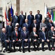 The Financial Action Task Force, banking and other financial leaders gather during a May 2017 meeting of G-7 finance ministers in Bari, Italy.