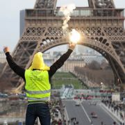 A yellow vest protester at the Eiffel Tower on Feb. 9, 2019, in Paris.