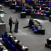 Ralph Brinkhaus, leader of the CDU/CSU parliamentary group, addresses the Bundestag on Oct. 17.