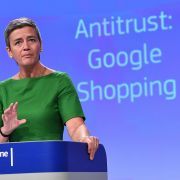 European Commissioner for Competition Margrethe Vestager gives a press conference explaining the commission's antitrust case against Google.