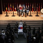The United States, United Nations and South Korea hold a repatriation ceremony on July 13, 2018, in Seoul to return home the remains of an unidentified soldier, presumably American, and a South Korean soldier killed during the 1950-53 Korean War.