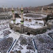 Muslim pilgrims pray at the Grand Mosque in the city of Mecca on Aug. 29, 2017.