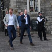 Prince Harry and Prince William, Duke of Cambridge, embark on a walkabout ahead of the royal wedding of Prince Harry and Meghan Markle on May 19, Windsor, England.