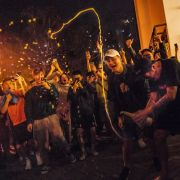 Hong Kong residents celebrate the results of local council elections on Nov. 25.