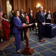 Speaker of the House Nancy Pelosi discusses the stimulus bill known as the CARES Act after the bill was passed at the U.S. Capitol on March 27, 2020.