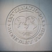 The IMF logo is seen at the fund's headquarters in Washington, D.C., on April 24, 2017.