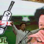 Imran Khan, a former cricketer and leader of the Pakistan Tehreek-e-Insaf party, rallies supporters during a campaign event June 30, 2018, less than a month before his election as Pakistan's new prime minister.