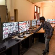 An Indian election official checks out monitors at a vote-counting center in Ahmedabad on May 22, 2019.